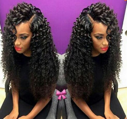 Wholesale Tie Curl Virgin Hair - 7A brazilian bouncy curl wig bleached knots lace front wigs glueless baby hair short lace wigs