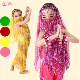Wholesale Embroidered Silk Chiffon - Belly Dance Costume Set Kids Child Belly Dancing Clothes For Girl Children Wear 4 Colors for Chosen