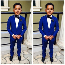 Wholesale Purple Pinstripe Pants - Royal Blue Kid's Wedding Groom Tuxedos Flower Boys Children Party Suits Bespoke 2 Piece (jacket + pants) custom made