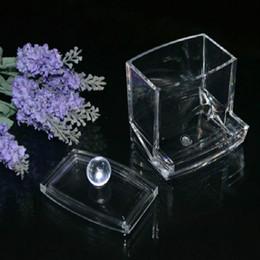 Wholesale Cotton Q Tips - women Storage Box Clear Acrylic Q-tip Holder Box Cotton Swabs Stick Storage Cosmetic Makeup organizer powder box