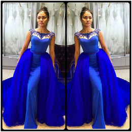 Wholesale Detachable Beaded Cap Sleeves - Sexy Long Royal Blue Evening Dresses with Removable Train Beaded with Crystal Floor Length 2016 Mermaid Evening Gowns robe de soiree