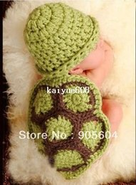 Wholesale Infant Knitted Costumes - Hot selling!Lovely Baby Infant Tortoise Newborn Turtle Costume Photo Photography Prop Knit Crochet Clothes Beanie Hat Outfit