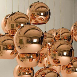 Wholesale Copper Pendant Ball Lamp - Tom Dixon Copper Fashion Glass Ball Dixon Bubble Best Ceiling Lighting Pendant Lamps E27 220V 110V DHL Free Gold Copper Silver Multi Size