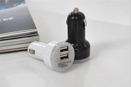 Wholesale Usb Dual Port Car Adapter - Mini Dual USB Car Charger Adapter Bullet Double USB 2-Port 1A 2A 2.1A for Samsung Galaxy S4 S5 Note 2 3 iPhone 5 5s 4 Nokia HTC One