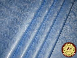 Wholesale Cotton Damask - Germany Quality Jacquard Damask Sky Blue Bazin Riche Guinea Brocade African Garment Cotton Fabric African Garment Fabric 100% Cotton