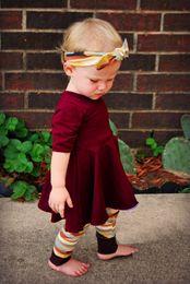 Wholesale Patterns Toddler Dresses - Ins Baby girls princess outfit toddler kids short sleeve dress+Geometric patterns leggings+Bows hair hand 3pcs clothing sets R0877
