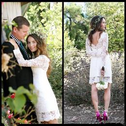 Wholesale Summer Long Shirt Simple Designs - 2016 Cheap Sale Short Wedding Dresses Long Sleeve Jewel Neck Sheath Mini Simple Design Bridal Gowns for Garden Wedding Custom Made