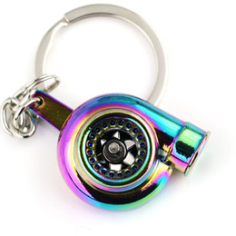 Wholesale Turbocharger Ring - H86120-5 Rainbow Color Turbo Keychain Auto Parts Model Spinning New Charming Turbocharger Key Chain Ring Keyring Keyfob