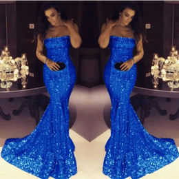 Wholesale Cheap Modest Bling Prom Dresses - 2018 Bling bling royal blue sequined mermaid evening prom dresses cheap strapless blush pink simple modest formal dresses evening wear gowns
