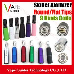Wholesale Double Wicks Atomizer - Imist Skillet Ego D Dry Herb Wax Atomizer Multi Colors Dual Ceramic Coil and Titanium Wick Double Rod Skillet Vaporizer