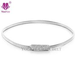 Wholesale Elastic Chain Belt - New Fashion Women Elastic Chain Belt Gold&Silver Bright Belt Luxury Crystal Belt For Women Cintos Femininos (BL-518) YouKee Belt