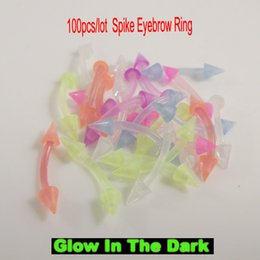 Wholesale Body Flexible - 100pcs lot 16G glow in the dark flexible eyebrow ring soft Sprike eyebrow rings pure colors body piercing jewelry