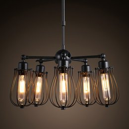 Wholesale Industry Lighting - Black iron chandelier lustre abajur american country style industry loft pendant lamp e27 Edison bulb bar cafe lighting
