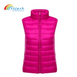 Wholesale Light Down Jacket Women S - XSJPZH New Autumn Winter Vest Stand Collar Sleeveless Jacket Female Ultra light 90% Duck Down Vest Women Thin Waistcoat YQ162