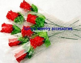 Wholesale Single Stem Rose Flower - lovely single stem red rose silk Flowers   simulation flowers for wedding party Home decorations