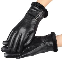 Wholesale Leather Fur Trim - Wholesale-Hot Sale Men's Genuine Leather Gloves Winter Rabbit Fur Trimming Sheepskin Luvas Touch Glove
