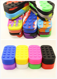 Wholesale Silicone Food Grade Wholesale - Lego shape 6+1 silicone container for wax food grade nonstick silicone bho box for concentrate oil silicone case storage jar 18 colors stock
