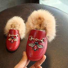 Wholesale Soft Leather Kids Shoes - Baby Girls Boys Cotton-padded Shoes Cartoon Honeybee Soft Sole Children Casual Shoes Autumn Winter Warm Flat Shoes Kids 21-30
