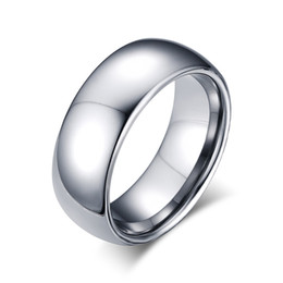 Wholesale Free Promise Rings - 8mm Tungsten Steel Silver Plain Wedding Band Simple Promise Rings Free Engraving