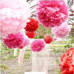 Wholesale Plum Silver Christmas Decorations - 5 6 10 inch 15Multi Colors Wedding Paper Flowers Ceremony Decorations For Paper Poms Wedding Birthday Valentine's Day Giant Crafts Pom Poms