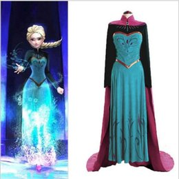 Wholesale Christmas Dresses For Women - 2015 Snow Queen Anna Coronation Dress Made Cosplay Costume For Adult Womens Free Shipping