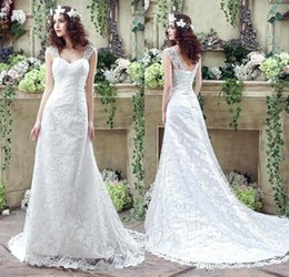 Wholesale Queen Stock - 2017 In Stock Sexy Lace Wedding Dresses Mermaid Queen Anne Bridal Gowns with Lace Up Back Sweep Train Wedding Gowns CPS244