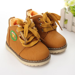 Wholesale Childrens Ankle Boots - Snow Boots Size21-30 For Kids Boy Girl Plush Childrens Warm Soft Leather Motorcycle Hand Stitching Shoes Winter Slip Ankle Boots