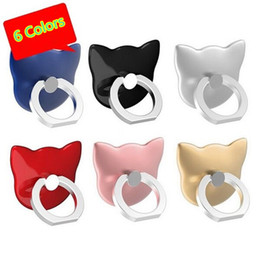 Wholesale Finger Head - Universal Luxury Cartoon Cat head 360 Degree Finger Ring Mobile Phone Smartphone Stand Holder For all phone