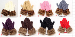 Wholesale White Leather Mittens - Fashion lady's Faux Fur Mittens winter Knitted Halter Gloves Mittens for Women 12pcs lot Free shipping