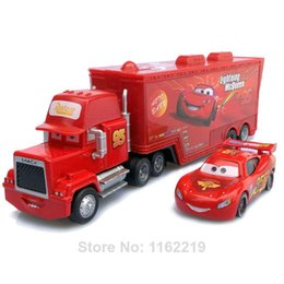 Wholesale 95 Cars - Free Shipping Pixar Cars 2 Mack Truck Hauler +small car red# 95 Toys car Diecast Metal Car Toy Loose In Stock