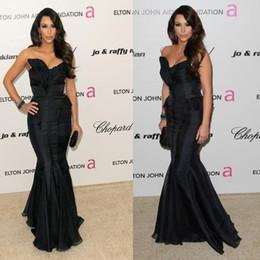 Wholesale Kim Kardashian White Dress Cheap - Kim Kardashian Black Evening Dresses 2015 Cheap Brush Train Sexy Long Mermaid Formal Prom Pageant Gowns For Women Backless Red Carpet Dress