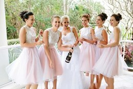 Wholesale Strapless Chiffon Long Bow - 2015 Latest Style Crew Off-the-Should Bridesmaid Bow Dresses Cheap Beach Dresses Sleeveless A Line Knee Length Short Party Dresses