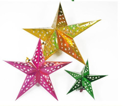 Wholesale Blue Christmas Wreaths - Decorated Christmas Tree Christmas wreath merry christmas decorations colorful folding paper star hanging lobby of stars CS02