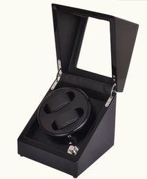Wholesale Watch Winder Storage Box - Wholesale-Leather Automatic Rotation 2 Watch Winder Storage Case Display Box Black