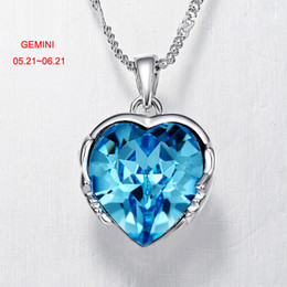 Wholesale Crystal Zodiac - Hot Sell Zodiac Necklace 925 Silver Plated Chain Austria Crystal Constellation Pendant Necklace for Valentine's Day Gift of Lovers