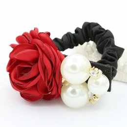 Wholesale Ladies Hair Ribbons - Women Lady Hair Ring Fashion Satin Ribbon Camellia Rose Flower Pearls Hairband Tie Head Ornaments Ponytail Holder Hair Band