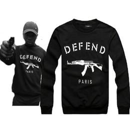 Wholesale Brand Hoodie Top - Wholesale-new 2015 auturn winter Letters printed brand fleece DEFEND PARIS AK47 Men's sportwear Hoodies and Hip pop sweatshirts top