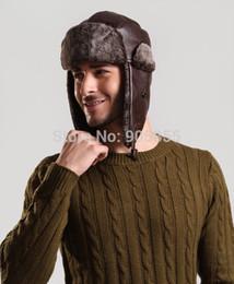 Wholesale Russian Hats Men - Wholesale-Windproof Trapper Hat HuntingPU Leather Fur cap Russian Winter Hat Bomber Caps for Men
