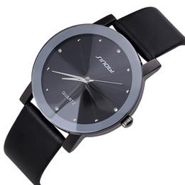 Wholesale Sinobi Stainless Steel Black - JW533 Top Sale SINOBI Diamond Crystal Silver Case Elegant All Black Men Quartz Wrist Watch Gift Men's Leather Strap Watches