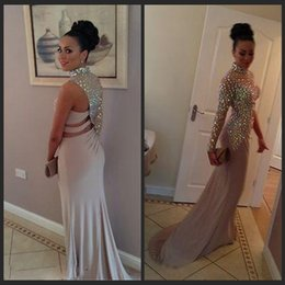 Wholesale Sheer Nude Dress Rhinestones - 2015 New Vestidos Prom Dresses Champagne Chiffon High Collar One Sleeve Rhinestones Keyhole Nude Long Evening Party Gowns