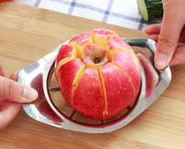 Wholesale Processing Metal - 100pcs lot Stainless steel apple slicer Vegetable Fruit Apple Pear Cutter Slicer Processing Kitchen slicing knives Utensil Tool
