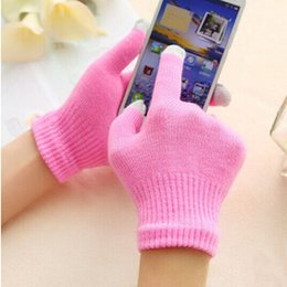Wholesale Knit Glove Iphone - Christmas Winter Warm Candy Touch Screen Glove Knit Cotton Capacitive Screens Conductive Gloves for ipad iphone X 8 7 6 6S plus