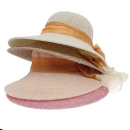 Wholesale Ladies Hats Bags Wholesale - Wholesale-10 Pcs  bag Woman Big Bowknot Sun Hat Ladies Coloured Ribbon Beach Cap Four Colors Select Free Shipping EUM