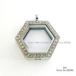 Wholesale Diy Rhinstone - Rhinstone Hexagon Living Floating Memory Glass Locket For Locket Bracelet necklace DIY charms for locket