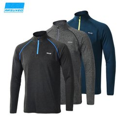 Wholesale Sports Shirts Collar - Men Long Sleeve Tees Quick dry Fashion Male Slim Elastic Tops Running Riding Fitness Spring Summer Autumn Outdoor Casual Sports T-shirts