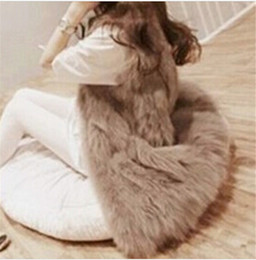 Wholesale Faux Fur Vests For Women - Solid White Black Fashion Faux Fur Vest For Women Gilet Waistcoat Long Jacket Plus Size S-3XL