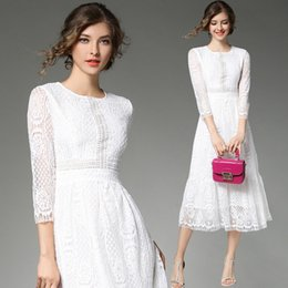 Wholesale dress evening night party - Women Autumn Long Sleeves Lace A Line Cocktail Dresses Tea Length Short Party Prom Evening Dresses In White