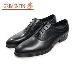 Wholesale Vintage Mens Dress Shoes - GRIMENTIN mens leather shoes casual UK fashion vintage wingtip slip on shoes men wedding party size:38-44