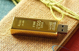 Wholesale Gold Bar Flash Memory - Hot DHL Sale 64GB Gold Bar USB Flash Drive disk memory stick Pendrives thumbdrives 64GB U Disk 60pcs lot