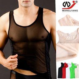 Wholesale Sheer Transparent Men - Men Sexy Mesh Sheer Transparent Shirt Tank Tops Underwear Exotic Sleepwear Undershirts Sex Men Undershirt Men's Bodysuits W1004-BX